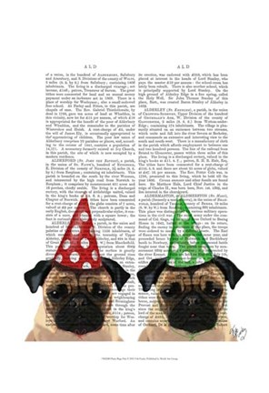 Framed Party Pugs Pair Print