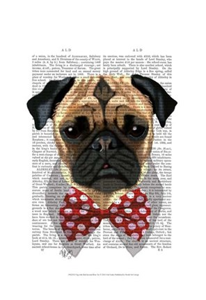 Framed Pug with Red Spotted Bow Tie Print