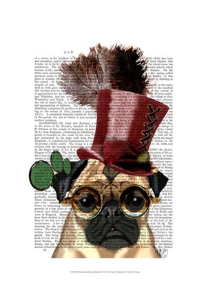 Framed Pug with Steampunk Style Top Hat Print