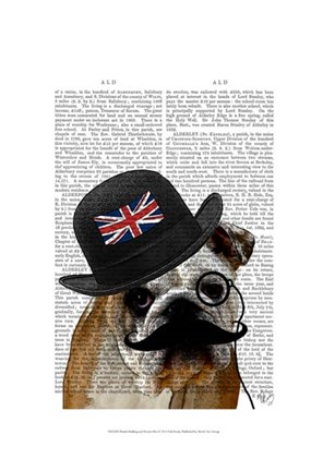 Framed British Bulldog and Bowler Hat Print