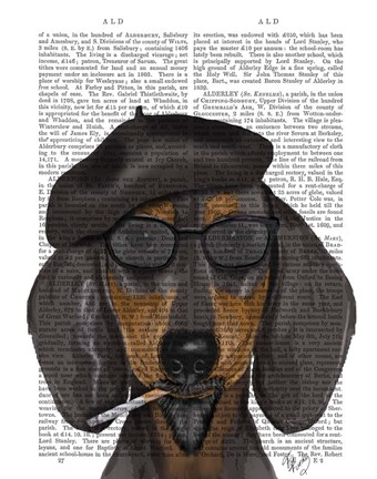Framed Hipster Dachshund Black and Tan Print