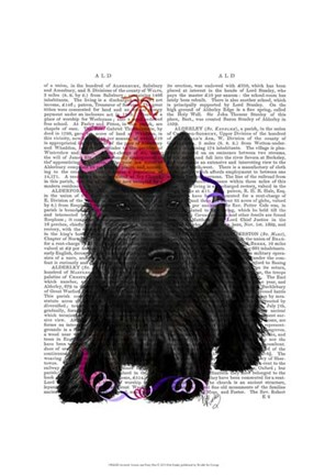 Framed Scottish Terrier and Party Hat Print