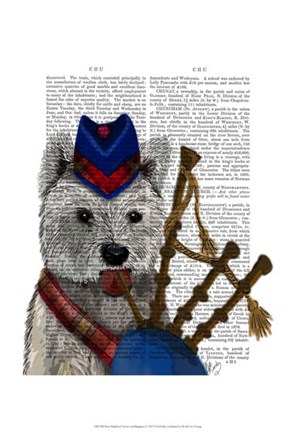 Framed West Highland Terrier and Bagpipes Print