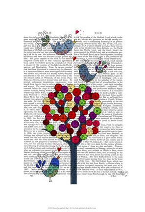 Framed Button Tree and Birds Blue Print
