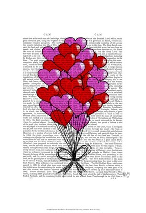 Framed Valentine Heart Balloon Illustration Print