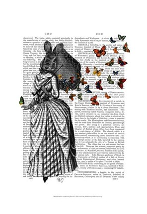 Framed Rabbit and Butterfly Parasol Print