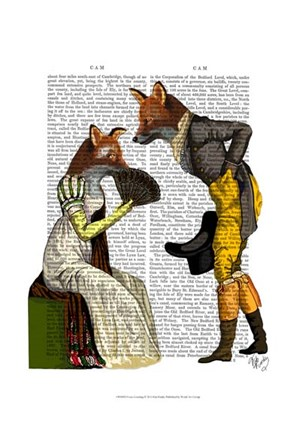 Framed Foxes Courting Print