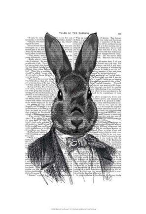 Framed Rabbit In Suit Portrait Print