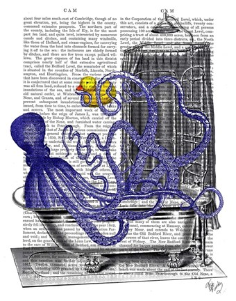Framed Octopus in Bath Print