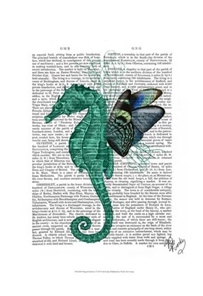 Framed Winged Seahorse Print