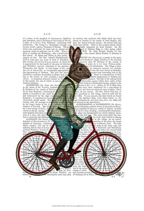 Framed Rabbit On Bike Print