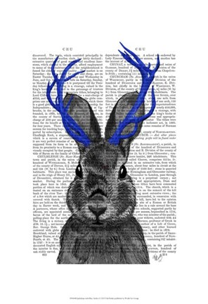 Framed Jackalope with Blue Antlers Print