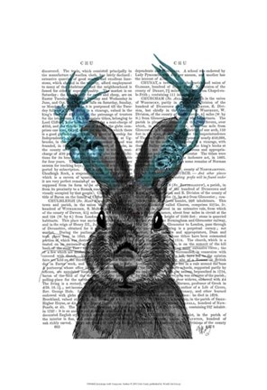 Framed Jackalope with Turquoise Antlers Print