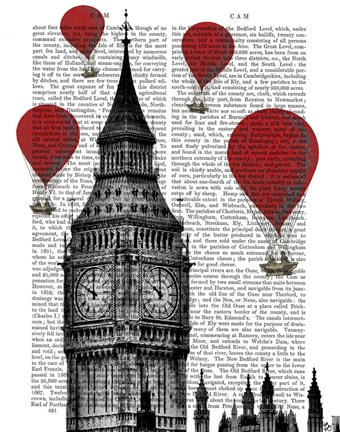 Framed Big Ben and Red Hot Air Balloons Print