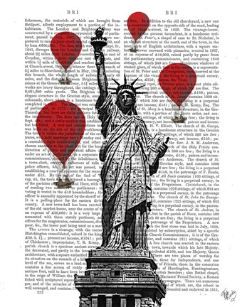 Framed Statue Of Liberty and Red Hot Air Balloons Print