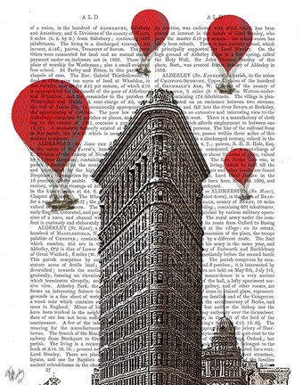 Framed Flat Iron Building and Red Hot Air Balloons Print