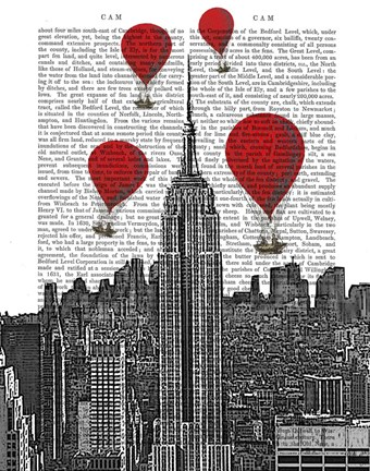 Framed Empire State Building and Red Hot Air Balloons Print