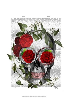 Framed Skull With Roses And Vines Print