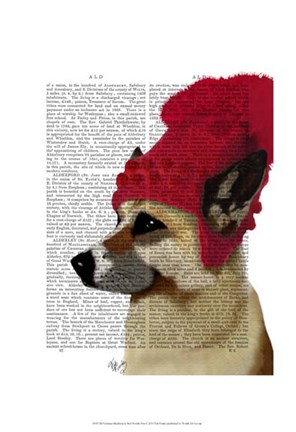 Framed German Shepherd in Red Woolly Hat Print