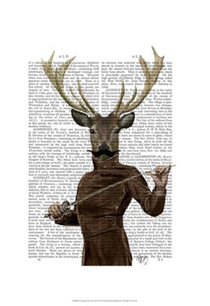 Framed Fencing Deer Portrait Print