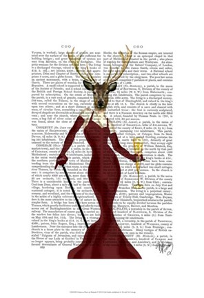Framed Glamour Deer in Marsala Print