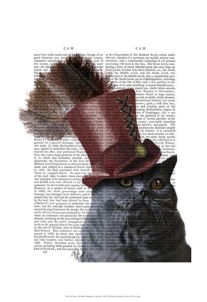 Framed Grey Cat With Steampunk Top Hat Print