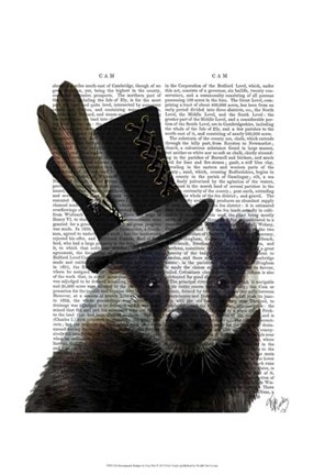 Framed Steampunk Badger in Top Hat Print