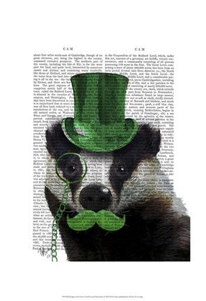 Framed Badger with Green Top Hat and Moustache Print