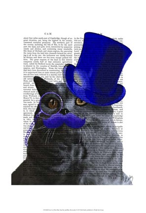 Framed Grey Cat With Blue Top Hat and Blue Moustache Print