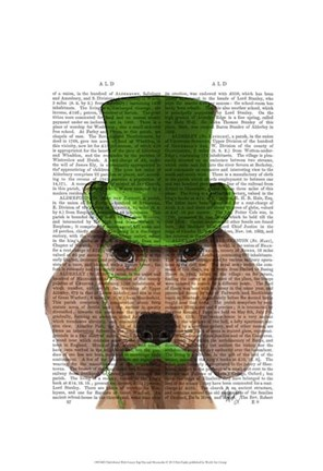 Framed Dachshund With Green Top Hat and Moustache Print