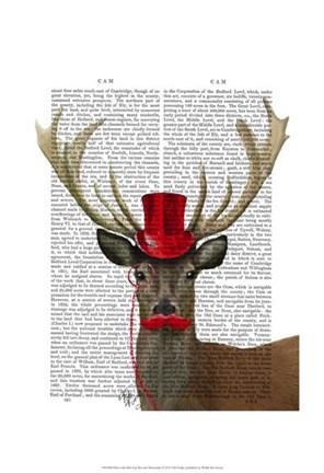 Framed Deer with Red Top Hat and Moustache Print