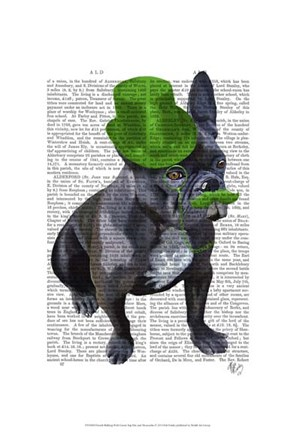 Framed French Bulldog With Green Top Hat and Moustache Print