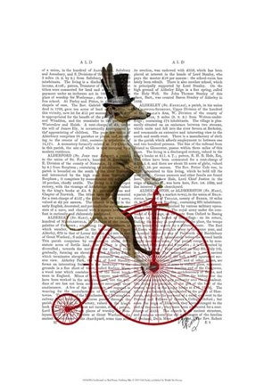 Framed Greyhound on Red Penny Farthing Bike Print