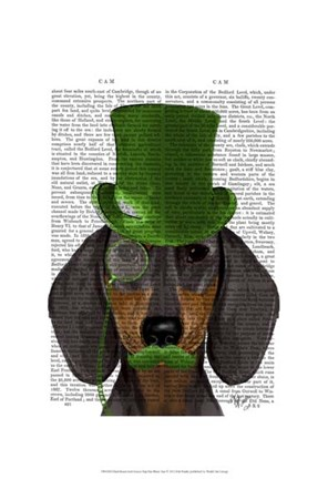 Framed Dachshund with Green Top Hat Black Tan Print