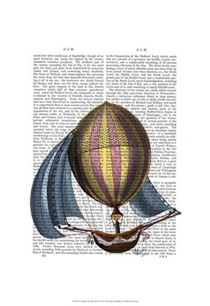 Framed AirShip with Blue Sails Print