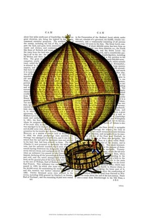 Framed Hot Air Balloon Yellow and Red Print