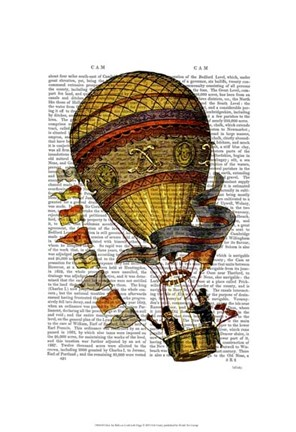 Framed Hot Air Balloon Gold with Flags Print