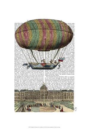 Framed Jardin De Tuileries Hot Air Balloon Print