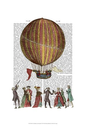Framed Hot Air Balloon And People Print
