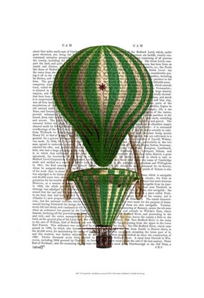 Framed Tiered Hot Air Balloon Green Print