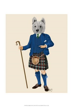 Framed West Highland Terrier in Kilt Print