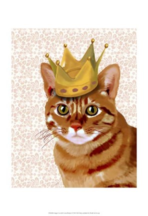 Framed Ginger Cat with Crown Portrait Print