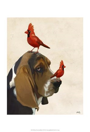 Framed Basset Hound and Birds II Print