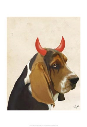 Framed Little Devil Basset Hound Print