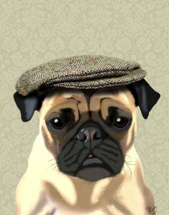 Framed Pug in Flat Cap Print