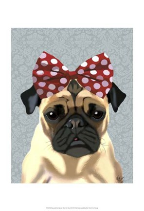 Framed Pug with Red Spotty Bow On Head Print