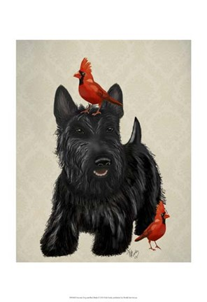 Framed Scottie Dog and Red Birds Print