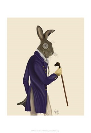 Framed Hare In Purple Coat Print