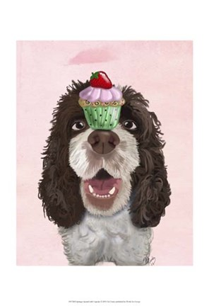 Framed Springer Spaniel with Cupcake Print
