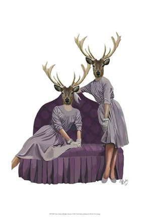 Framed Deer Twins in Purple Dresses Print